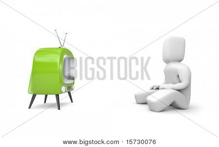 Person watches TV