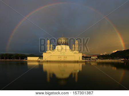 Rainbow at KK City Mosque, North Borneo