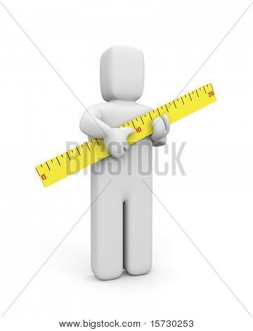 The person holds a ruler