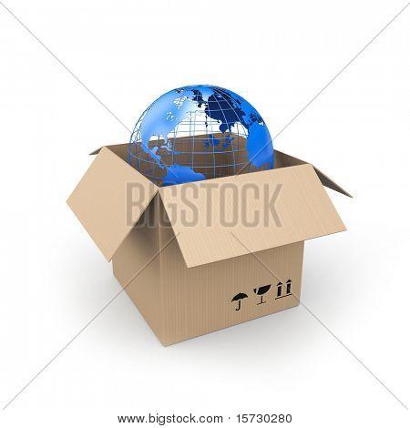 Caja de cartón con globo