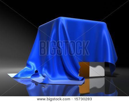 Surprise - Box covered from above a blue silk cloth