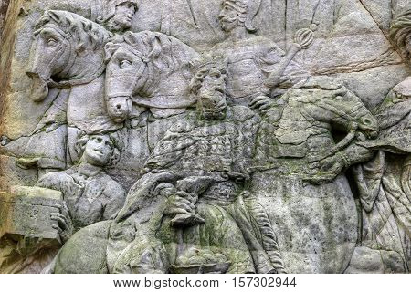 Kuks Forest Sculptures - Arrival of the Magi - detail of the Baroque relief by Matthias Bernard Braun from 1727