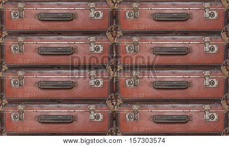 Old worn warped travel suitcases - evacuation