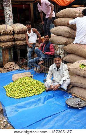 KOLKATA, INDIA - FEBRUARY 11: The atmosphere in fruit market in morning time in Kolkata, India on February 11, 2016.