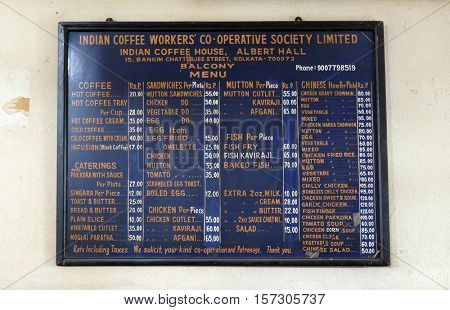 KOLKATA, INDIA - FEBRUARY 11: Blackboard with offerings in Indian Coffee House in Kolkata on February 11, 2016. The India Coffee House chain was started by the Coffee Cess Committee in 1936 in Bombay.