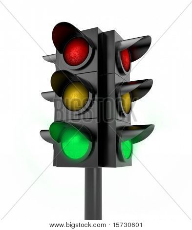 Traffic light. Green light on