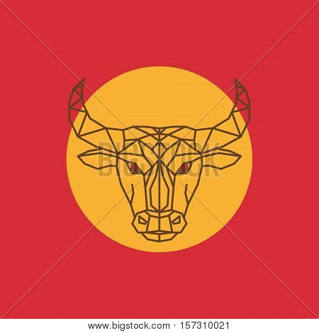 Background in the spanish colors with a black bull. Spanish Bull in red eya.