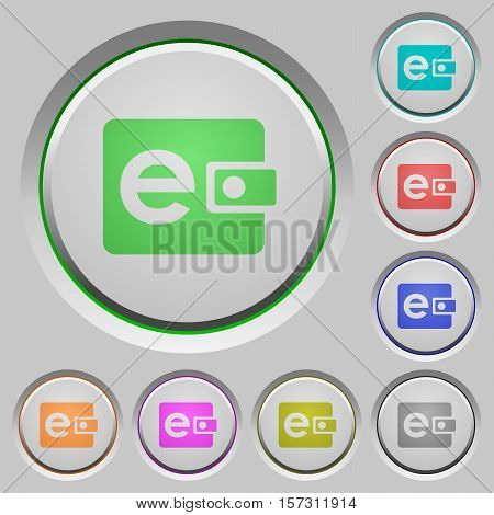 Electronic wallet color icons on sunk push buttons