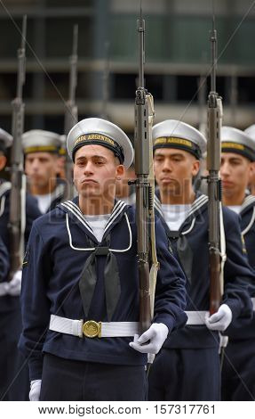 Buenos Aires, Argentina - Jul 11, 2016: Argentine navy sailors at the military parade during celebrations of the bicentennial anniversary of Argentinean Independence day.