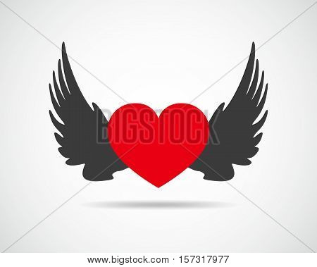 Winged heart icon. Red heart with black wings isolated on light background. Vector illustration.