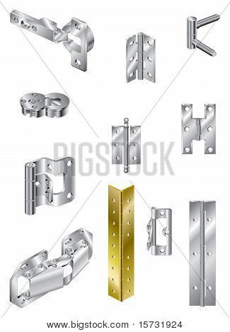 A selection of steel hinges and one brass