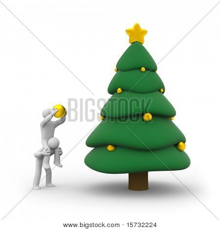 People decorate Christmas tree