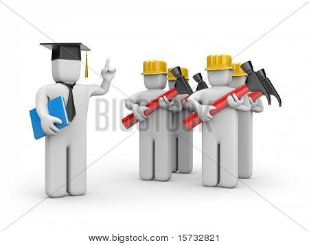 Workers and lecturer or academic
