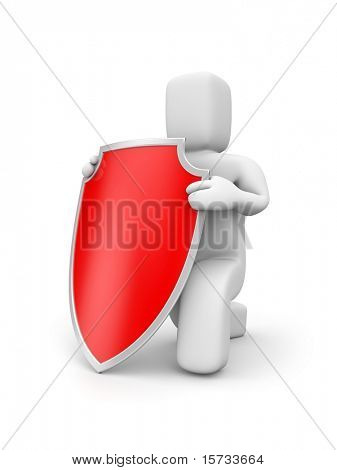 Person hold shield