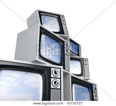 Heap of Retro TV with reflected sky