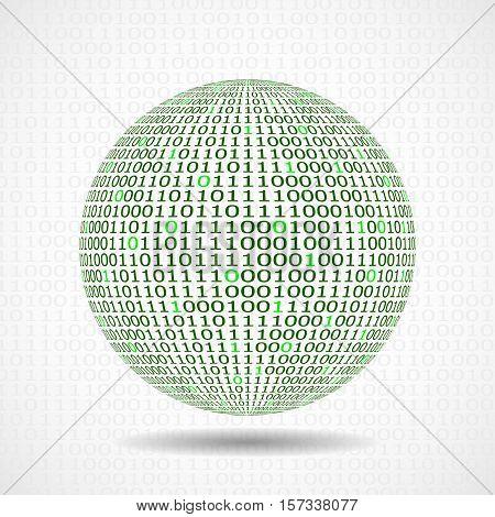 Globe of binary code. Abstract technology ball. Vector design