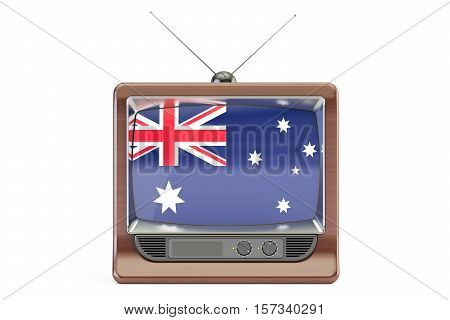 TV with flag of Australia. Australian Television concept 3D rendering isolated on white background
