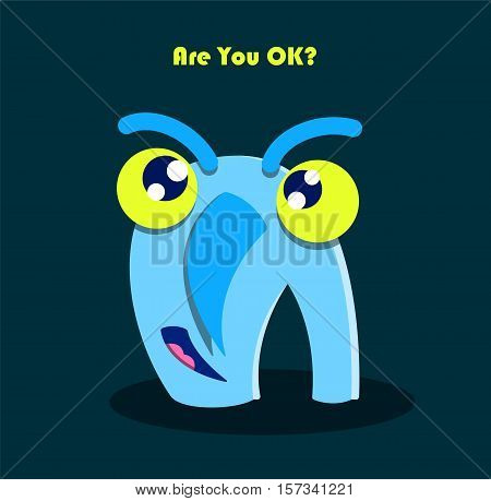 Are You Ok? text with funny smiling monster. Cute character cartoon drawing. Fun kid humor letter A symbol. Vector illustration.