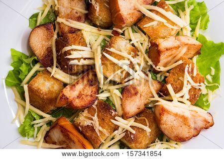 Caesar salad with chicken and croutons on a white plate