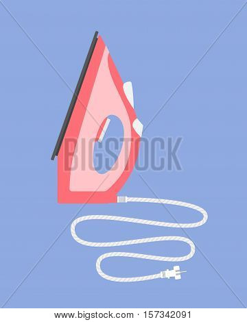 Standing iron with a cord. Flat vector illustration