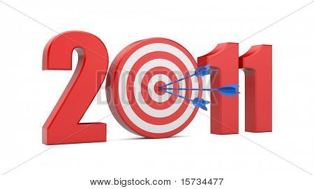 Success in new year. Image contain clipping path