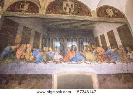Milan, Italy - November 15, 2016: The mural painting, Last Supper, famous masterpiece of Leonardo da Vinci from Renaissance after restoration.