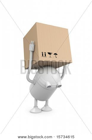 Robot with cardboard boxes