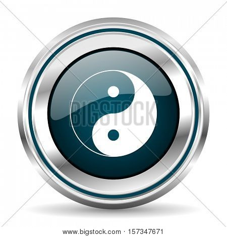 Ying Yang vector icon. Chrome border round web button. Silver metallic pushbutton.
