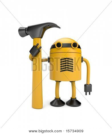 Robot worker. Image contain clipping path