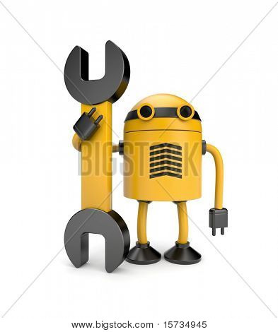 Robot werknemer met spanner