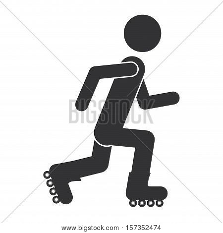 monochrome silhouette with man skating vector illustration