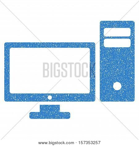Personal Computer grainy textured icon for overlay watermark stamps. Flat symbol with scratched texture. Dotted vector cobalt ink rubber seal stamp with grunge design on a white background.