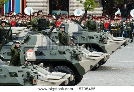 MOSCOW - 6 MAY: BTR-80. Dress rehearsal of Military Parade on 65th anniversary of Victory in Great Patriotic War on May 6, 2010 on Red Square in Moscow, Russia