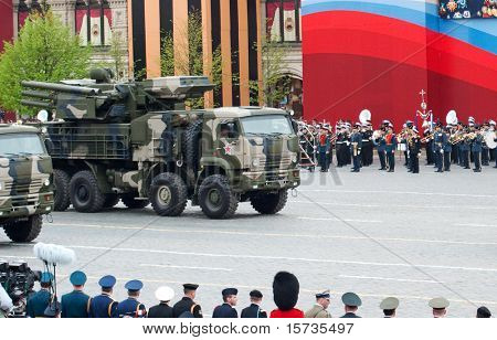 MOSCOW - 6 MAY: Pantsir-S1  range surface-to-air missile. Dress rehearsal of Military Parade on 65th anniversary of Victory in Great Patriotic War on May 6, 2010 on Red Square in Moscow, Russia