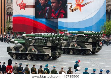MOSCOW - 6 MAY: BUK-M2 missile system. Dress rehearsal of Military Parade on 65th anniversary of Victory in Great Patriotic War on May 6, 2010 on Red Square in Moscow, Russia