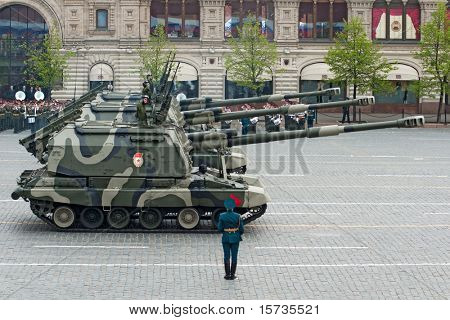 MOSCOW - 6 MAY: Self-propelled Howitzer MSTA. Dress rehearsal of Military Parade on 65th anniversary of Victory in Great Patriotic War on May 6, 2010 on Red Square in Moscow, Russia