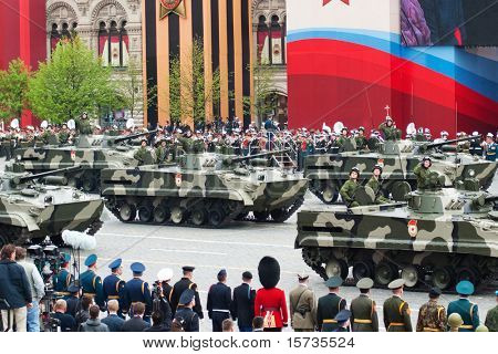 "MOSCOW - 6 MAY: BMP-3, ""Infantry Combat Vehicle"". Dress rehearsal of Military Parade on 65th anniversary of Victory in Great Patriotic War on May 6, 2010 on Red Square in Moscow, Russia"