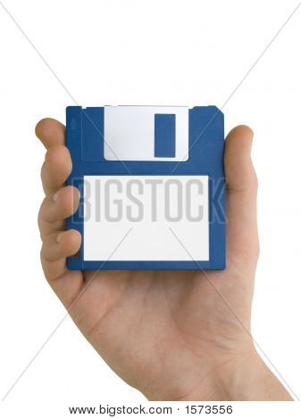 Blank Floppy Disc In Hand