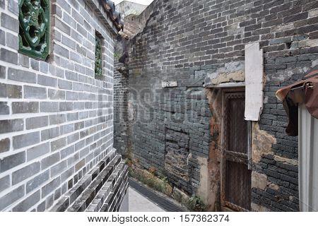 Hong Kong, China - Traditional asian houses with brick walls in Tai O fishing village