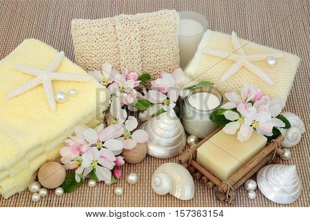 Fresh spa beauty treatment cleansing products with spring apple blossom, mother of pearl shells and starfish on bamboo background.