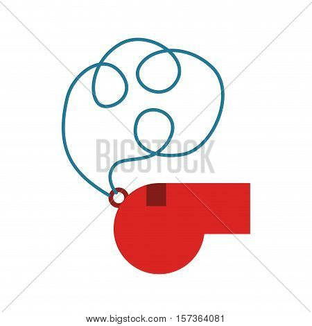 colorful silhouette of whistle with cord vector illustration