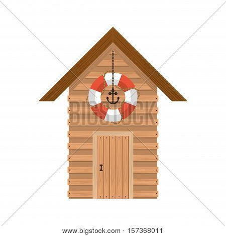 full color with lifeguard stand of wooden vector illustration
