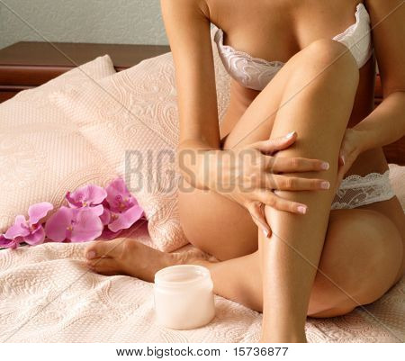 Body care - Body creme application - health and beauty