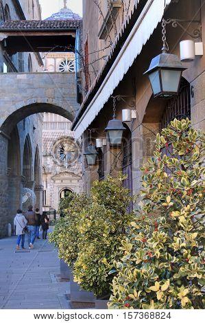 Street in the city center of Bergamo