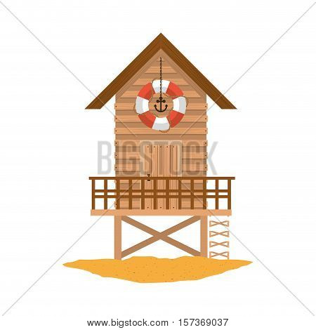 full color with lifeguard stand of wooden over sand vector illustration
