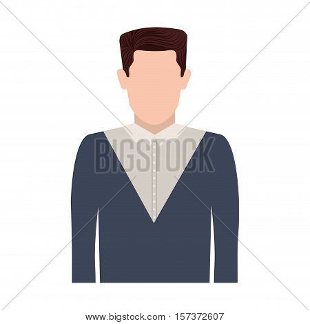 half body silhouette man with hair straight vector illustration