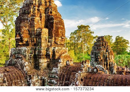 Face-towers Of Bayon Temple In Angkor Thom. Siem Reap, Cambodia