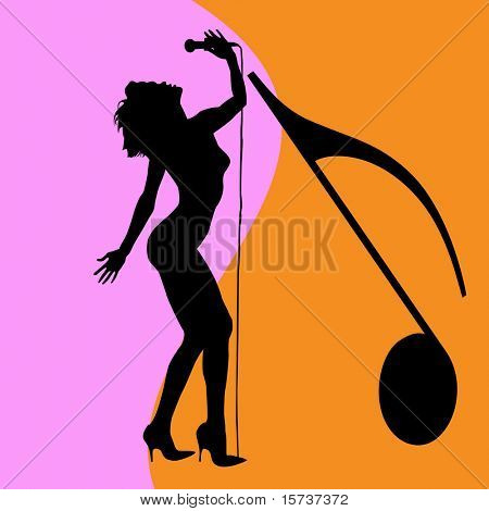 singing woman silhouette, disco singer