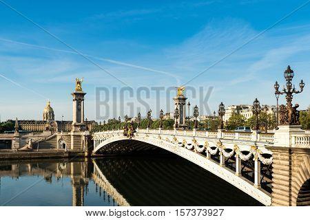 Alexandre III bridge (Pont Alexandre III) and National Residence of the Invalids Paris France