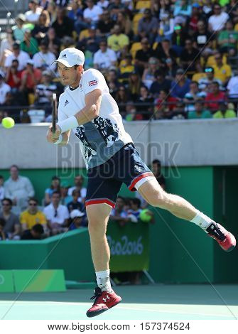 RIO DE JANEIRO, BRAZIL - AUGUST 13, 2016: Olympic champion Andy Murray of Great Britain in action during men's singles semifinal of the Rio 2016 Olympic Games at the Olympic Tennis Centre